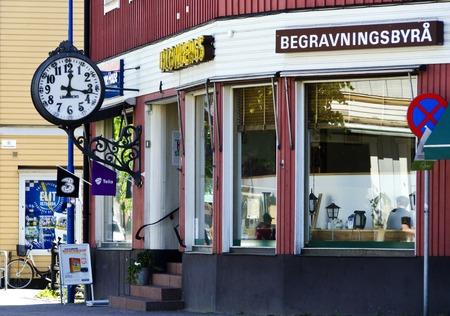 mortician: undertaker office in a little swedish town, Vetlanda, Sweden