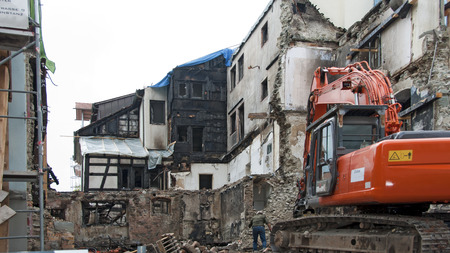 burnt out: demolition of a burnt-out ruin in the medevial Constance at Lake Constance, Germany Editorial