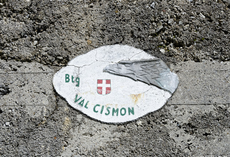 accomodation: plate of the Battaglione Val Cismon at a military accomodation from the 1. Worldwar at the Tilliacherjoch (Forcella Dignas), border between Italy and Austria Editorial
