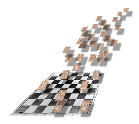 blown away: outlines of chess figures on pieces of  brown crumpled packaging paper on a chess board Stock Photo