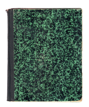 marmorate: old green patterned book cover with black back