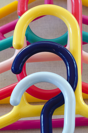 hangers: colorful coats hangers made from plastic
