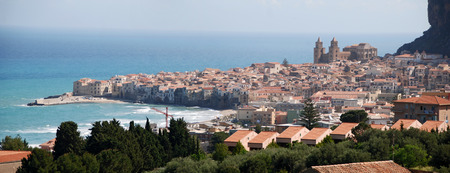 seaside town: Panoramic view of the seaside town  of Cefalu, Sicily, Italy