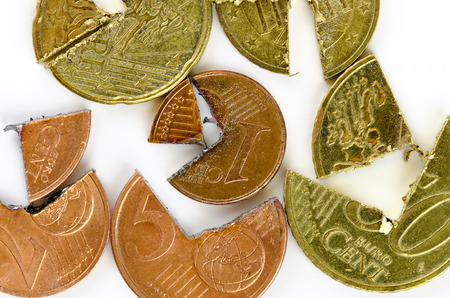 cutted: Euro-Cent coins cutted in two pieces Stock Photo