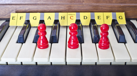 minor: manual of an organ with cones on the keys of the D minor chord