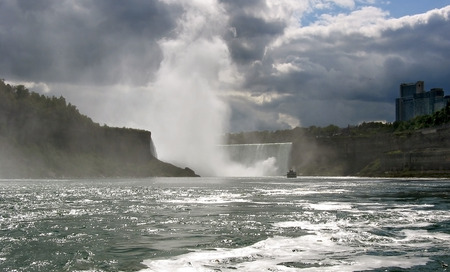 niagara river: Niagara River with horseshoefalls seen from the river; Canada