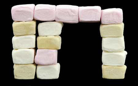 chomp: with front porch made from different colored marshmallow cubes Stock Photo