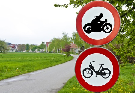 moped: two traffic signs driving ban for motorcycles, motorbike and moped