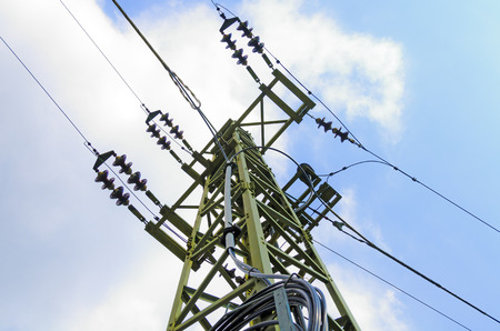 insulators: power pole with insulators and power lines