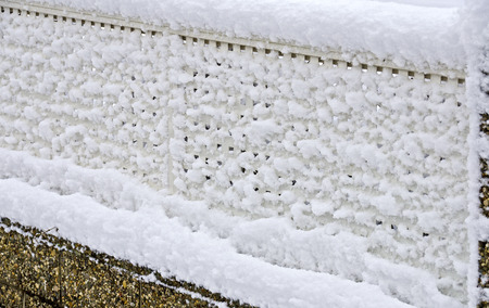 powdery: fresh snow sticks on a garden fence made from aluminium