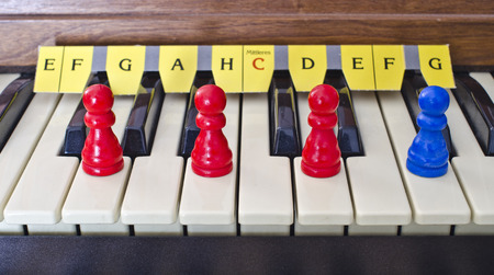 chord: manual of an organ with cones on the keys of the G major seventh chord