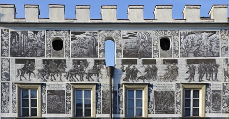 craftwork: commercial house with renaissance front at Gmuend, Austria