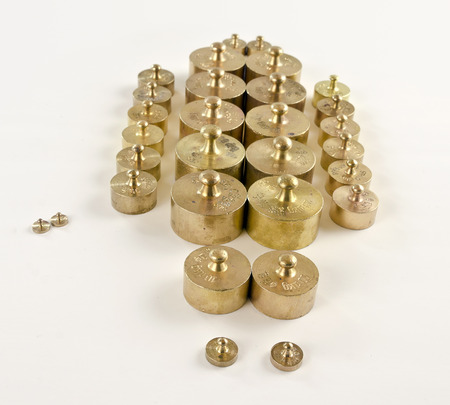 hallmark: weights made from brass with hallmarks in rows
