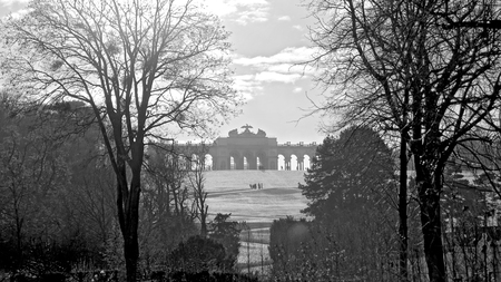 schoenbrunn: view to the gloriette at the garden of palace Schoenbrunn in the winter, Vienna, Austria Editorial