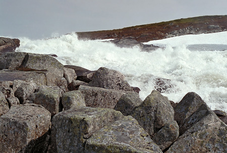 tableland: glacial stream on the plateau Hardangervidda, Norway Stock Photo