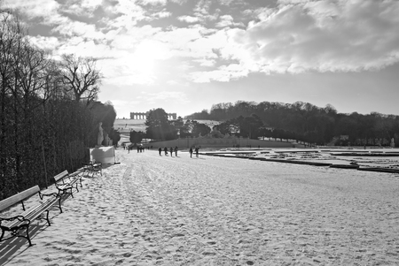 the gloriette: view to the gloriette at the garden of palace Schoenbrunn in the winter, Vienna, Austria Editorial
