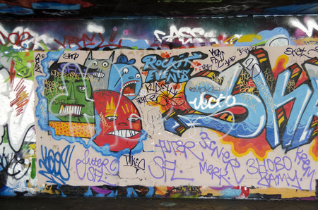Graffiti at Londons South Bank Skate parkThe undercroft, England, Great Britain