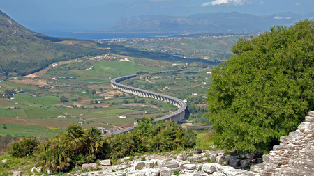 segesta: Motorway on pillars to Castellammare del Golfo, Sicilia, Italy Stock Photo