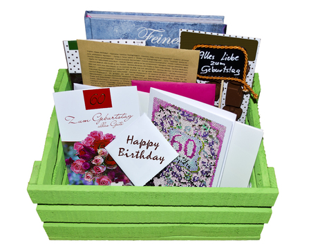 felicitation: green wooden crate with congratulations to sixtieth birthday, isolated Stock Photo