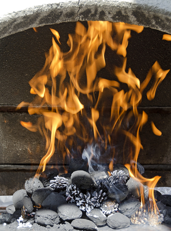 combustion chamber: burning charcoal briquettes and pine cones with blazing flames in the combustion chamber of a concreted barbecue