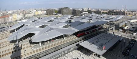 viennese: view across the Viennese main train station, Vienna, Austria