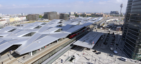 steel girder: view across the Viennese main train station, Vienna, Austria