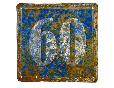 number plate: rusty house number plate with number 60  made from sheet of iron