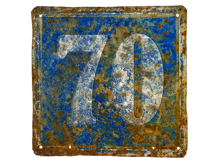 number plate: rusty house number plate with number 70  made from sheet of iron