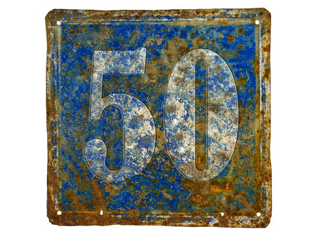 50 number: rusty house number plate with number 50  made from sheet of iron Stock Photo