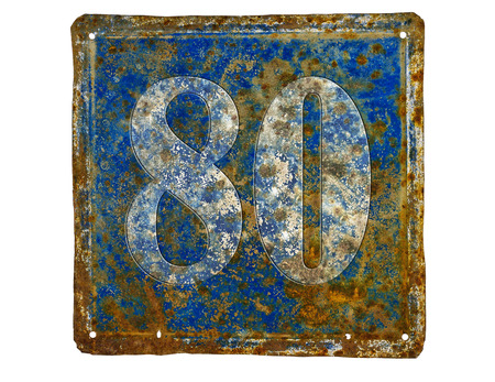 number plate: rusty house number plate with number 80  made from sheet of iron