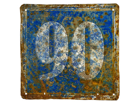 number plate: rusty house number plate with number 90  made from sheet of iron Stock Photo