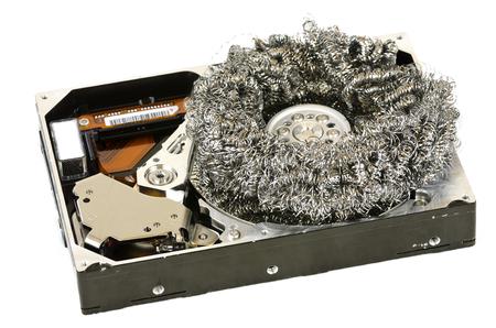 steel wool: opened harddisc with steel wool