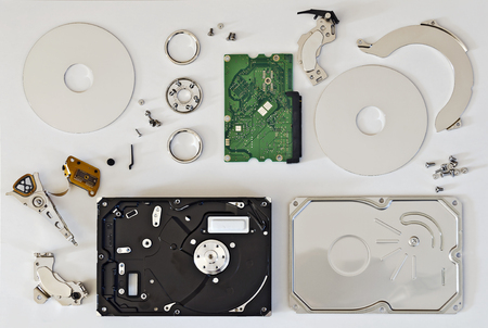 disassembled: parts of a disassembled hard disc