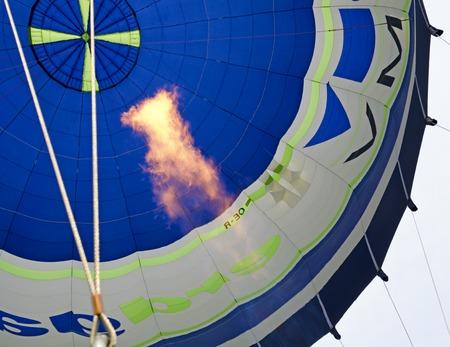 gas flame: blue white hote-air balloon and big gas flame