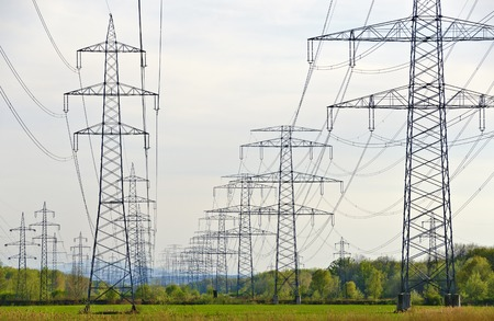 rows of power poles with multiple high-voltage power lines Standard-Bild