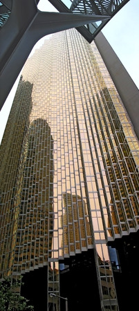 mirrored: Royal Bank Plaza, gold coated mirrored high-rise building in Toronto, Canada