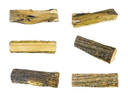 six images of logs, isolated Standard-Bild
