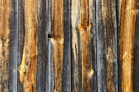 weatherworn: wall made from partly grayed and weathered wooden upright planks