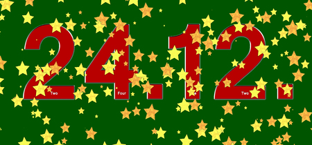 jesus birthday: red date December the 24th and golden stars on  green background Stock Photo