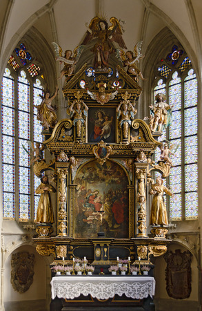 baroque altar at the Church of Our Lady in Freistadt, Austria