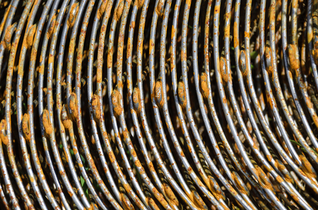 reinforcing: rusty bends of reinforcing bar for concrete Stock Photo