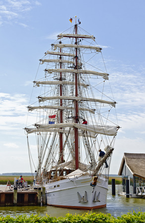 brig ship: brig at the harbour of Zingst, Germany