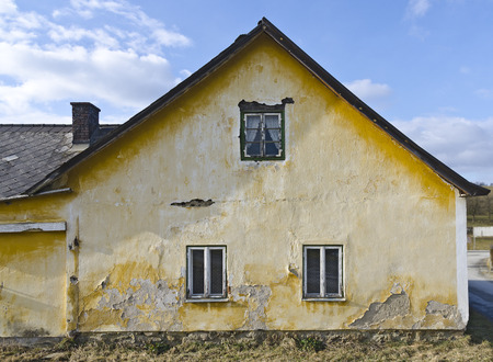 ruinous: gable end of an old ruinous farm house, Lauterbach, Austria Stock Photo