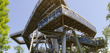 steelwork: steel construction treetop way on the area of the garden exhibition at Tulln, Austria