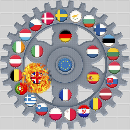 crone: crone caps painted in the colors of the member states of the European Union with flaming british cap as symbol for the Brexit at a gear wheel