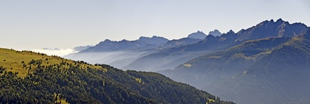 tyrol: view from the mountain Golzentipp across the Lesachvalley with morning fog, Tyrol, Carinthia, Austria Stock Photo