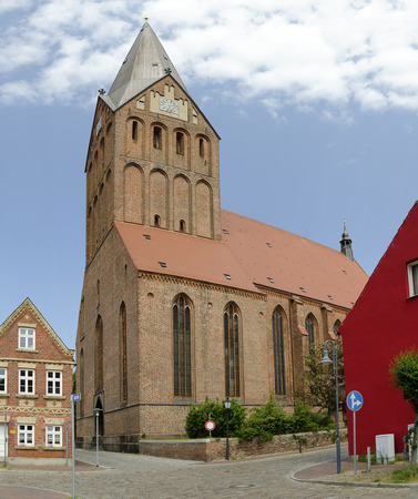 The red brick gothic Saint Marie church of Barth, Germany