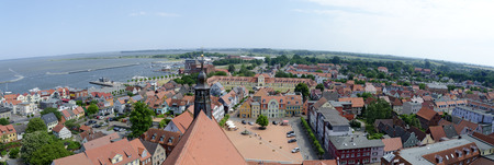 view across the center of Barth with main square, Germany Stock Photo