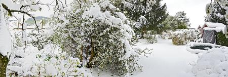 Schnee bedeckte Garten nach einem späten Beginn des Winters im Frühjahr, Österreich