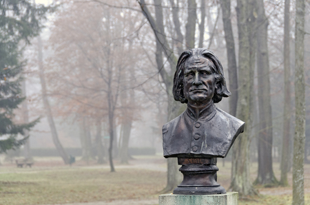 BATH TATZMANNSDORF, AUSTRIA - DECEMBER 1, 2011: bust of the composer Franz Liszt at the spa park